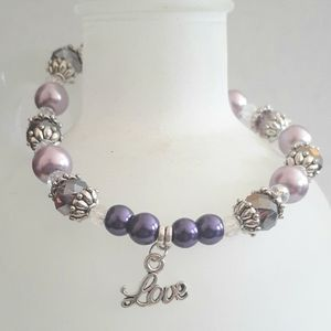 Endless Jewelry Creations Jewelry - Purple Beaded Love Charm Bracelet